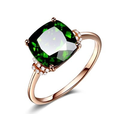 Rose Gold Plated Women's Ring Green Zicron Ring Jewelry Gift