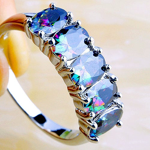 Amazing Rainbow Topaz Sterling Silver 925 Ring