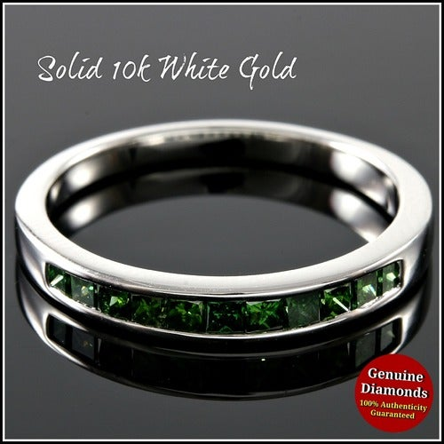 Solid 10k White Gold, 0.42ctw Genuine Green Diamonds Wedding Band #glamgold4323