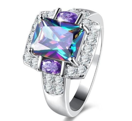 Colorful Square Cubic Zirconia Wedding Ring 295 Sterling Silver Jewelry Gift