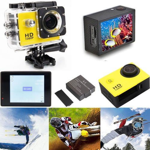 Waterproof Full HD Action Camera Sport Cam Helmet Diving Car DV Go Video 720P with Mounting Kit