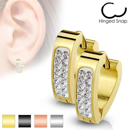 Pair of Clear Crystal Paved Triangle Shape Stainless Steelá