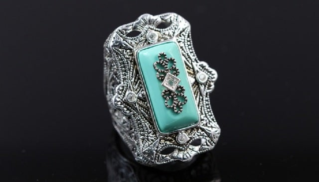 Art-Deco style ring. Fashionable, statement ring with lot's of details. Beautifully created Turquoise. Beautiful design and very impressive size. Not a small ring but rather eye catching master piece. One of the kind Guarantee. 3x Certified  Platinum plat