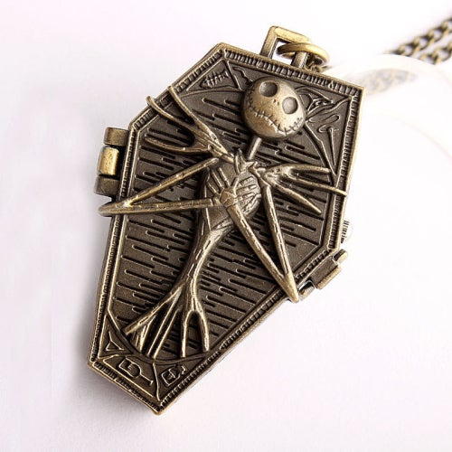 Unisex Men Women Pocket Watch Vintage Bronze Skull pocket watches