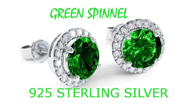 Sterling Silver Green Spinnel Micro Pave Halo Studs Earrings