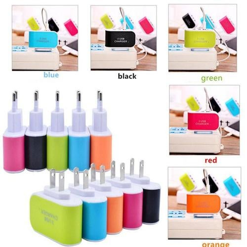 3-Port USB 2.0 Wall Power Charger Adapter 3.1A for Samsung Mobile Phone Tablet Home Travel US Plug Portable