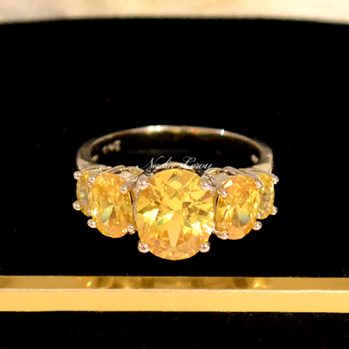 Amazing 3.3 ct Citrine Sterling Silver 925 Ring