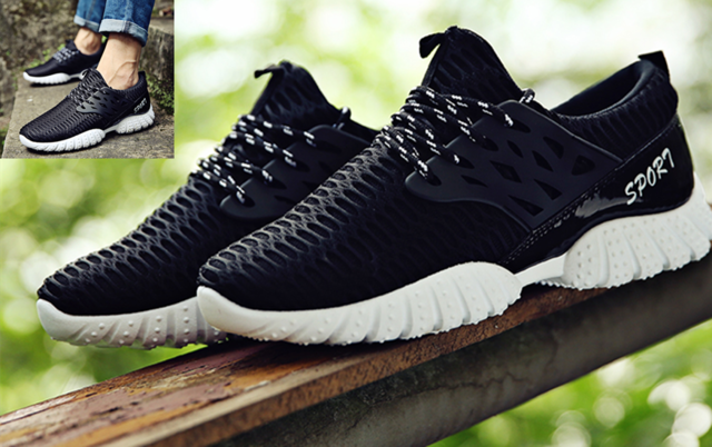 Breathable Men's Running Trainer Sneaker Lace up Mesh Sport Casual Shoes For Men