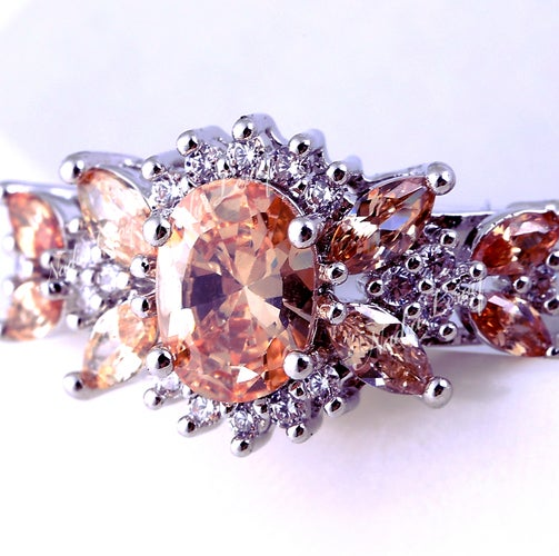 Exquisite Morganite & White Sapphire Sterling Silver 925 Ring