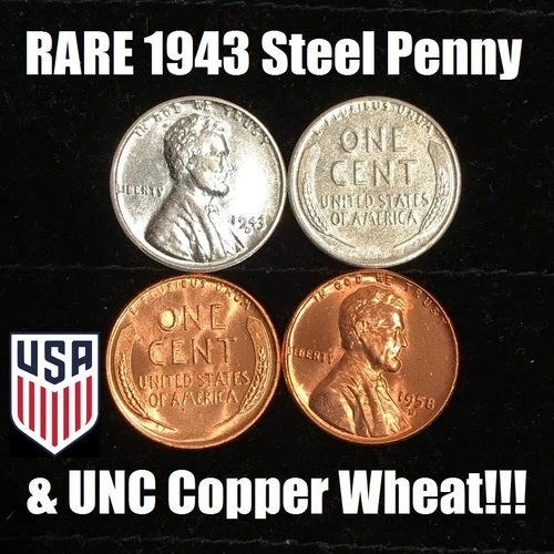 RARE Uncirculated 1943 Steel Wheat Penny &