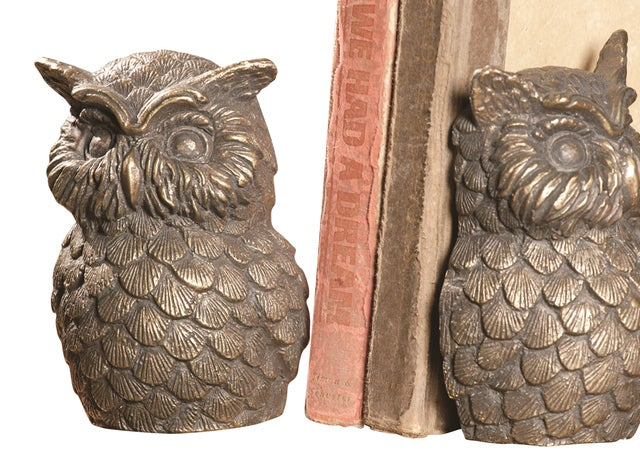Wise Ole Owls Bookends Library Desk Shelf Tabletop Cast Iron SPI Home