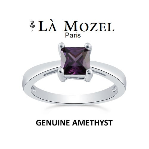 NEW ARRIVAL - Luxurious HandCrafted 18KT White Gold Over Brass 1 Carat Genuine Purple Amethyst Princess Cut Ring - Signature Collection