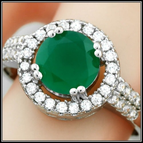 14k White Gold Filled, 1.25ctw AAA+ Grade Green and White Cubic Zirconia CZ Ring