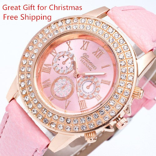 Free Shipping Great Gift for Christmas 2017 new fashion Geneva fashion woman quartz watch women