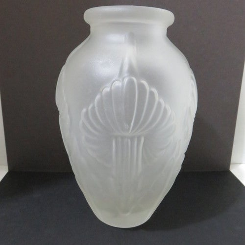 Vintage Large Satin Glass Vase With A Raised Amaryll Tophatter