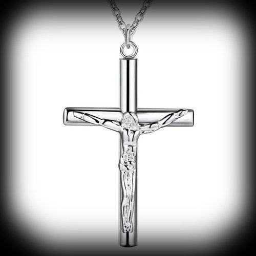 18kt White Gold Plated Jesus Crucifix Cross Necklace