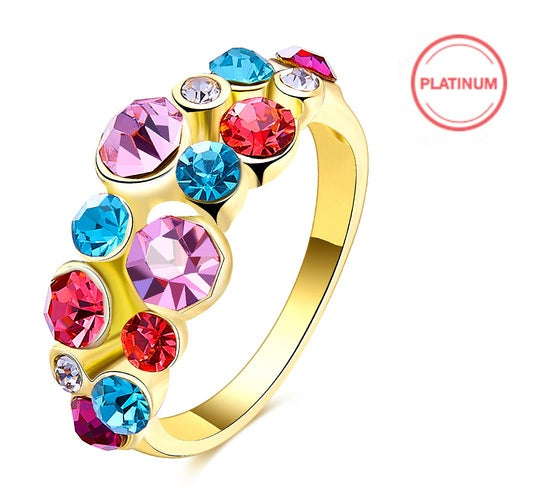 European and American fashion hot gold color diamond ring FOR girls women