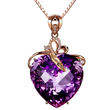 Thanksgiving Modernist Genuine 22CTW Heart Shape Amethyst with micro paved Zirco