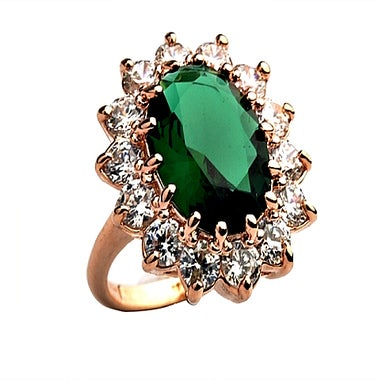 Gold Filled Green Stone Ring With Surrounding Stones