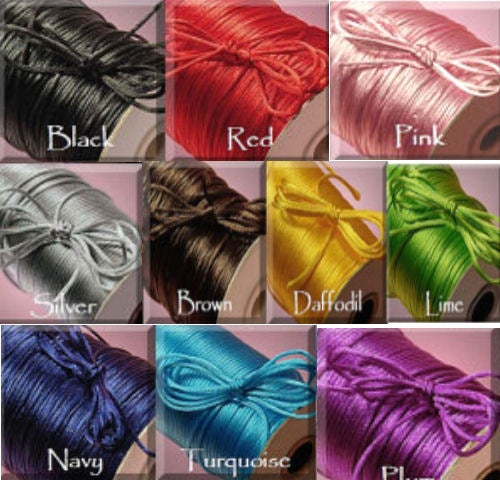 5 Yrds Satin Cord 2mm your Choice of Color