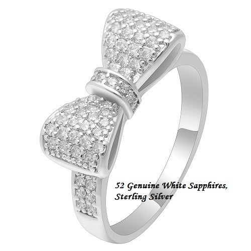 52 Genuine White Sapphires , Certified Sterling Silver