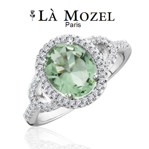 Luxurious HandCrafted 3 Carat Green Gemstone Oval Cut Ring In White Gold Over Brass