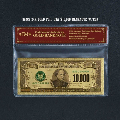 99.9% 24k Gold Foil Polymer Collectors 1928 US $10,000 with Certificate of Authenticity