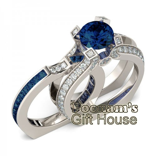 La Royale Blue With Clear CZ Engagement Set