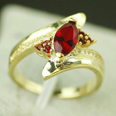 Red Zicon 18K Yellow Gold Filled Ring Wedding Ring  jewelry