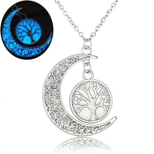 Tree of life glow in the dark crescent moon pendant chain.