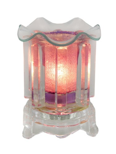 Zeckos - Frosted Purple and Clear Glass Electric Scented Oil/Tart Warmer