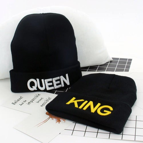 KING QUEEN Beanies For Men&Women Unisex Hip Hop Cap Skullies Lovers Hats 3D  Embroidery Warm Knitted Hats gorros