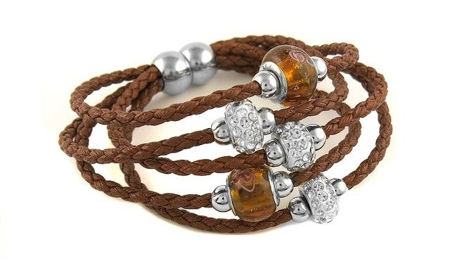 Multi Strand Leather Bracelets With murano Bead and Rhinestone Crystals