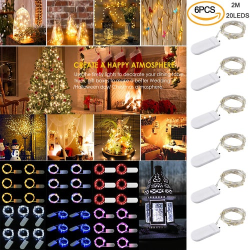LED String Lights 6 Pack Fairy Micro Lights 2M 20 LEDs Battery Powered Silver Wire Waterproof Lights for Holiday Party Wedding Centerpiece Bottle Decoration