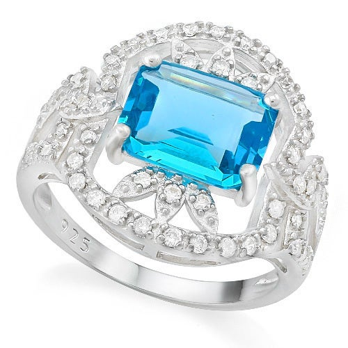 Solid .925 Sterling Silver, 3.50ctw Beautifully Created Fine Blue Topaz& White Sapphire Ring