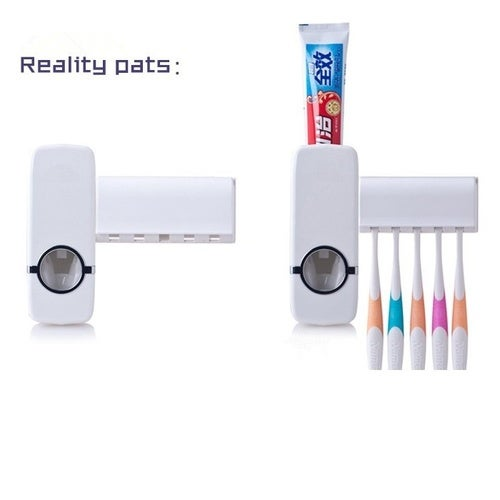 White Home Bathroom Household Automatic Auto Toothpaste Dispenser Squeezer + 5pcs Toothbrush Holder Set
