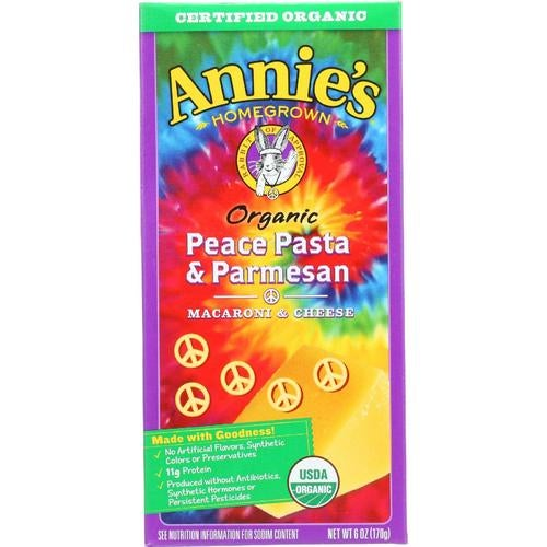 Annie's Homegrown Annies Homegrown Macaroni And Cheese - Organic - Peace Pasta And Parmesan - 6 Oz - Case Of 12