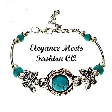 Silver Plated Synthetic Turquoise And Butterfly Bracelet