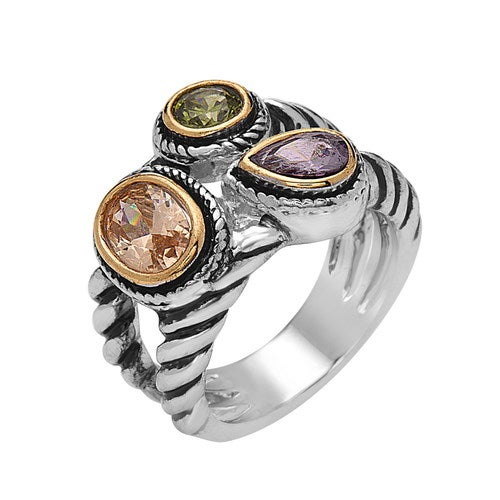 White Gold Filled Amethyst Olivine and Opal CZ Three-Stones Statement Ring