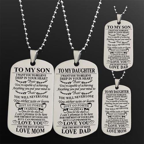 67624f0e08b To My Daughter   Son I Want You To Believe Love Dad   Mom Dog Tag Military  Air Force Navy Coast Guard Necklace Ball Chain Gift for Best Daughter  Birthday ...