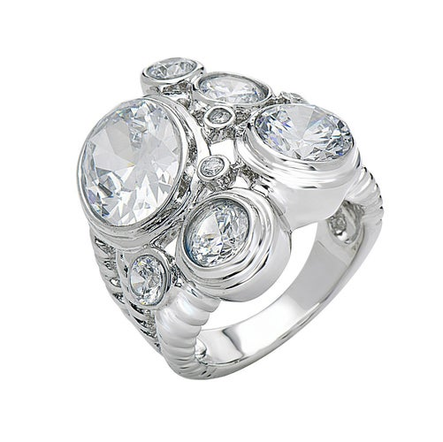 White Gold Filled CZ Statement Ring