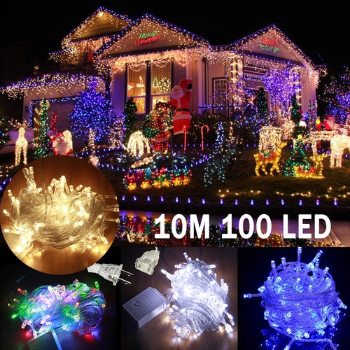 10M 100 LED LED String lights 10M Waterproof 110V Connectable with Tail Plug Home Outdoor Christmas Decoration Festival Party Fairy Garland LED Strip