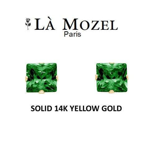 Luxury Solid 14K Yellow Gold Classic Elegant HandCrafted Princess Cut Stud Earrings Featuring Genuine Green Stone- 5MM