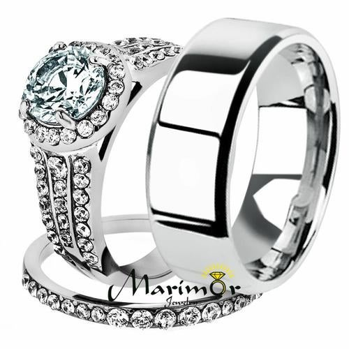 His & Her 3pc Stainless Steel 2.45 Ct Cz Bridal Ring Set & Men Beveled Edge Band