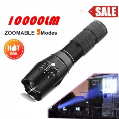CN 10000Lumens XM-L T6 Zoomable Tactical military LED 18650 Flashlight Torch Lam
