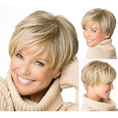 Fashion Sexy Natural Light Blonde Straight Short Hair Womens' Wig Beauty