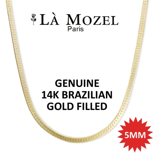 Italian Handcrafted 14K Yellow Brazilian Gold Filled Herringbone Chain - 16""