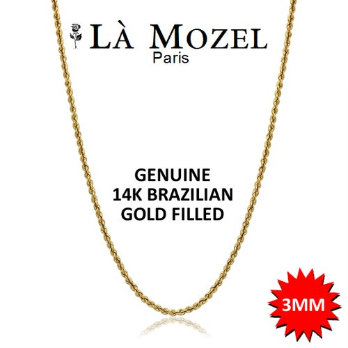 Luxurious Italian Crafted Brazilian Gold Filled Thick Rope Chain Necklace - 20""
