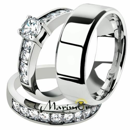 His & Her 3pc Stainless Steel 3.25 Ct Cz Bridal Ring Set & Men Beveled Edge Band