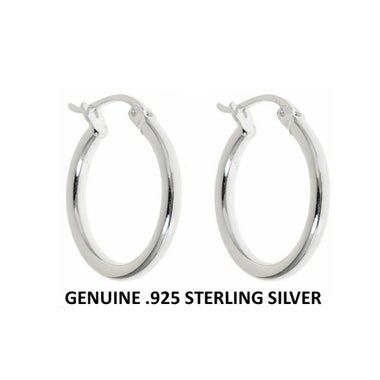 Stylish Handcrafted .925 Sterling silver 20mm classic hoop Earrings-Excellent Qu